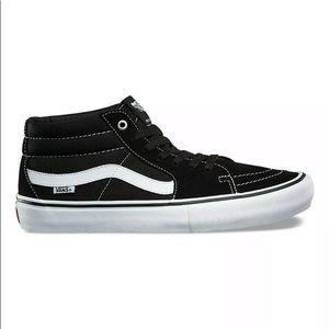 Vans sk8 mid black white sneaker shoes